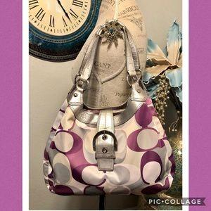 Coach fabric Edi Bag in gray and purple